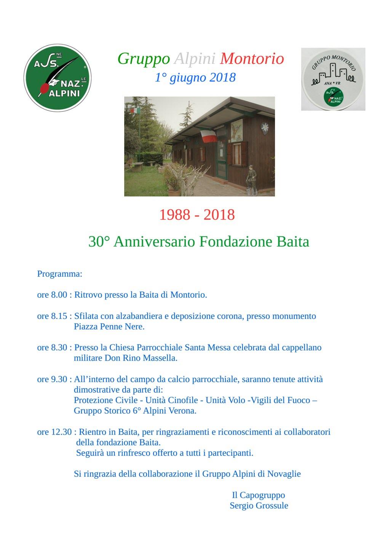 30° Anniversario Baita Gruppo Alpini di Montorio @ Baita Alpini | Montorio | Veneto | Italia