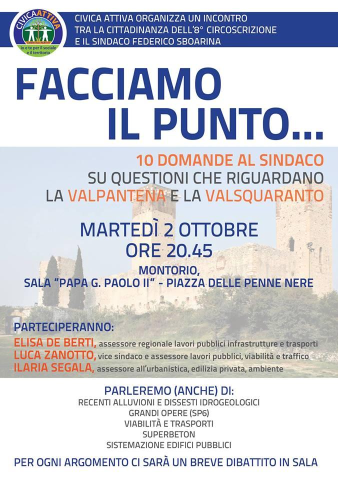 Facciamo il punto - Incontro con il sindaco @ Sala Giovanni Paolo II | Montorio | Veneto | Italia