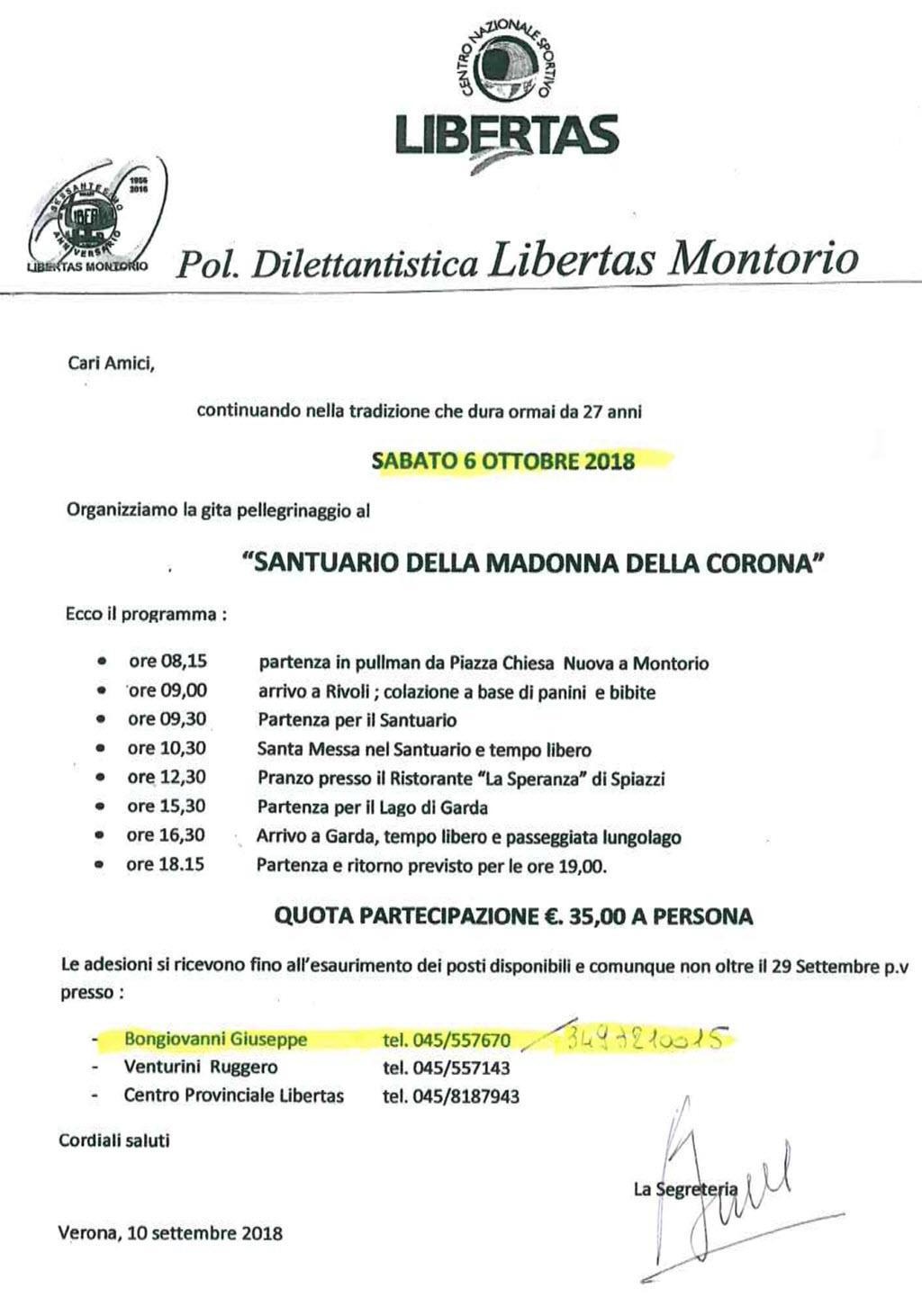 Libertas Montorio - Pellegrinaggio Madonna della Corona @ Pellegrinaggio a Madonna della Corona | Montorio | Veneto | Italia