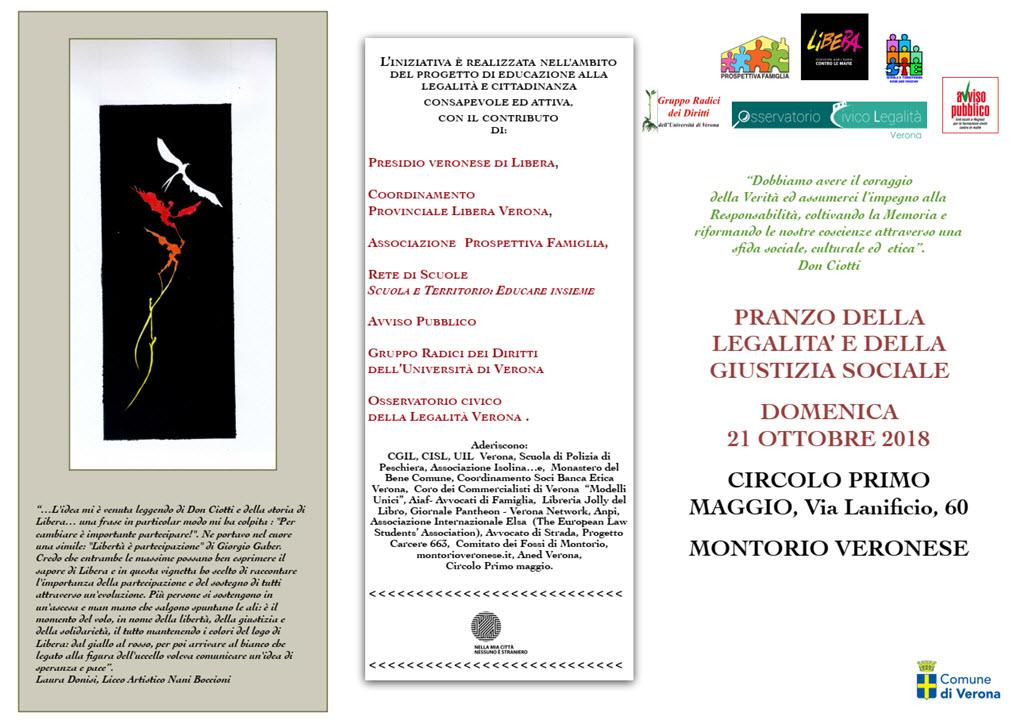 Pranzo della legalità e della giustizia sociale @ Circolo I° Maggio | Montorio | Veneto | Italia