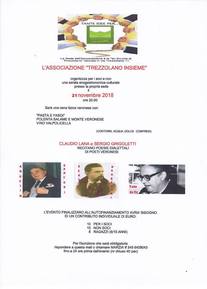 Trezzolano Insieme: cena e poesia @ Trezzolano   Trezzolano   Veneto   Italia